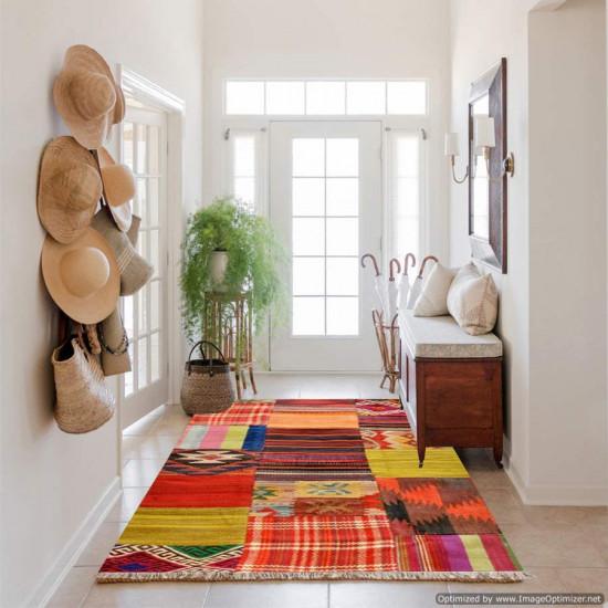 Tappeto Kilim in stile Patchwork 10147 123x62 cm