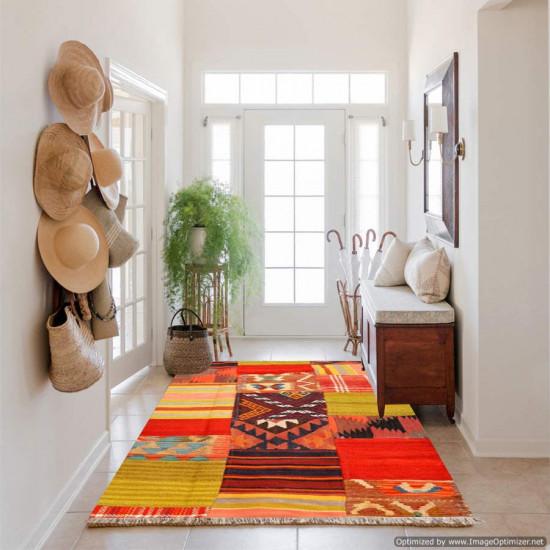 Tappeto Kilim 10151 in stile Patchwork 123x62 cm