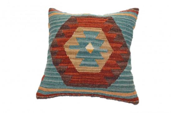 Cuscino Kilim stile afgano con sfondo blu 45x45 cm