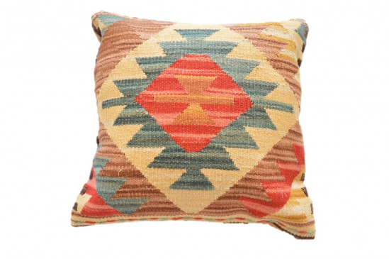 Cuscino Kilim stile afgano da arredo Sfondo Giallo - Dimensioni 45x45 cm
