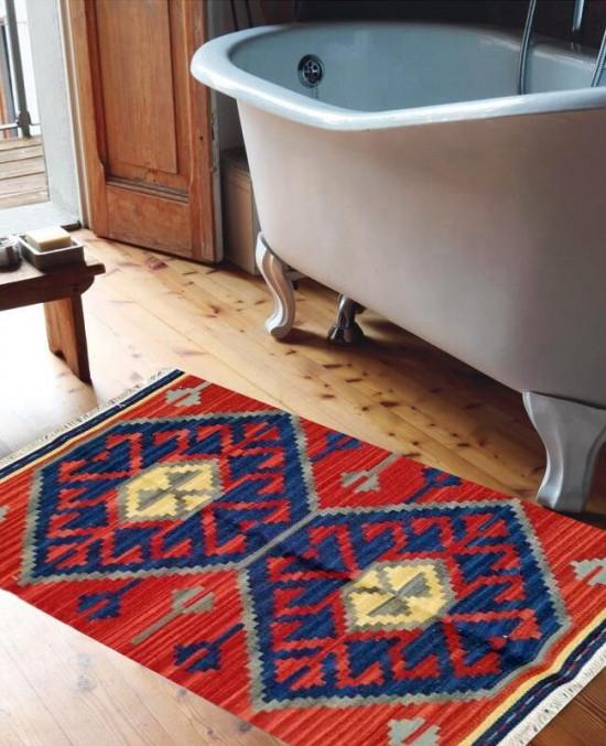 Tappeto Kilim per bagno 100% Lana DX1RED 65x110 cm