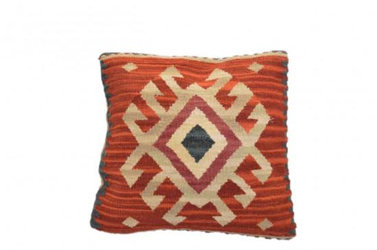 Cuscino Kilim stile afgano 45x45 cm rosso beige blu