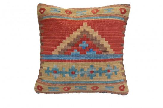 Cuscino Kilim stile afgano 45x45 cm rosso giallo blu