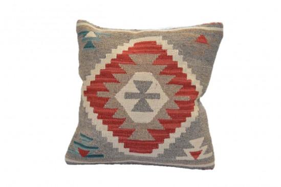 Cuscino Kilim stile afgano 45x45 cm rosso beige e bianco