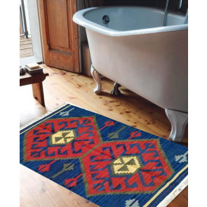Tappeto Kilim DX1BLU: ideale per bagno - Dimensioni 65x110 cm